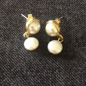 Jewelry - Gold and Faux Pearl Drop Earrings